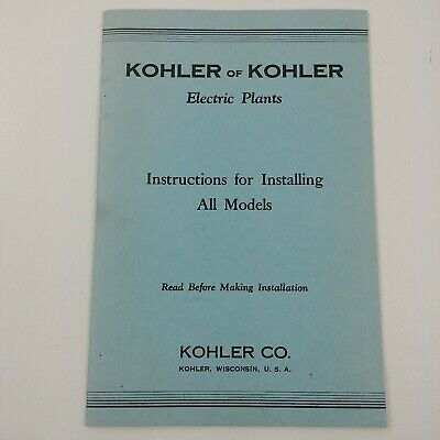 Kohler KVA Electric Plant Instructions for Installing All Models Kohler WI
