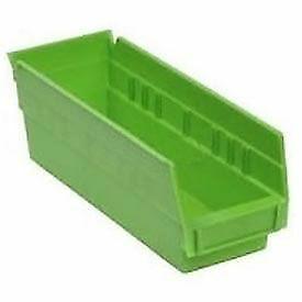 "Akro-Mils Plastic Shelf Bin Nestable, 6-5/8""W x 17-7/8""D x 4""H, Green, Lot of 12"