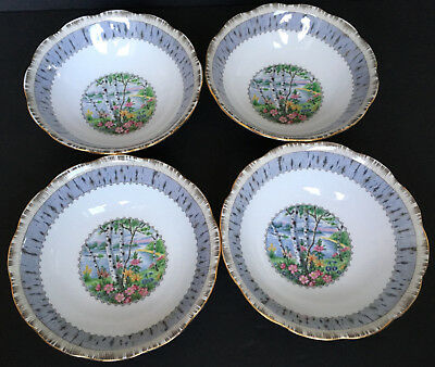 Set Of 4 Vintage Royal Albert Silver Birch Cereal Or Soup Bowls England