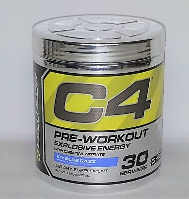Cellucor C4 G4 Explosive Energy Pre-Workout  Icy Blue Razz 30 Serving CLUMPY