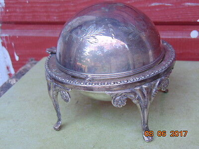 Old brass candy container with silver plated 1880-1920