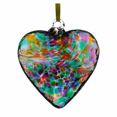 8cm Friendship Heart - Multicoloured Turquoise By Sienna Glass Handcrafted