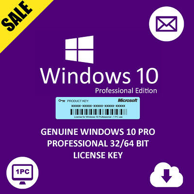 Windows 10 Professional Pro Key 32 / 64 Bit Activation Code License Key Genuine
