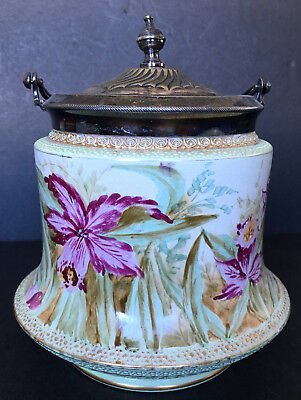 Antique W. Wood & Co. Staffordshire Knot Hand Painted Biscuit Barrel Jar