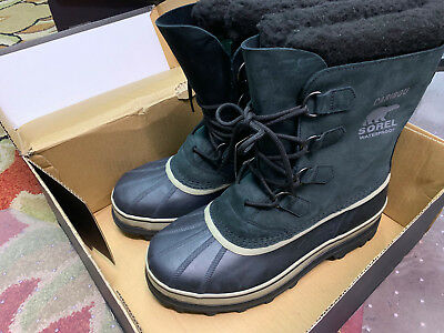 SOREL Men Caribou Waterproof -40* Winter Snow Boot Black/Tusk NWT Size 9