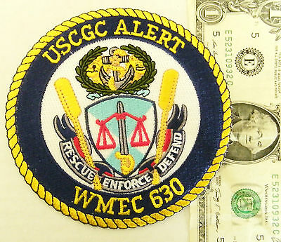 "U.s. Coast Guard Patch Uscgc Alert, Rescue Enforce Defend Wmec 630  4 1/2"" #ah"