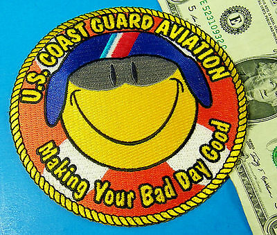 US COAST GUARD PATCH USCG AVIATION GOGGLES Make Your Bad Day Good SMILEY FACE #G