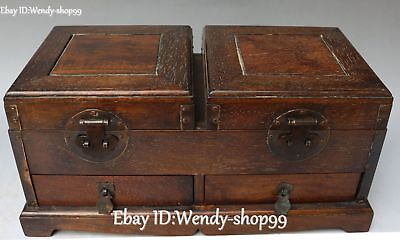 "13"" Chinese Rosewood Wood Ancient Double Casket Treasure Jewelry Box Case Boxes"