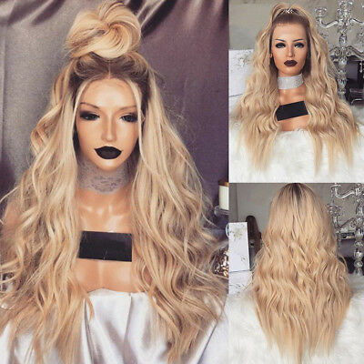Women Blonde Long Wavy Curly Wig Natural Full Hair Wigs Cosplay Wigs