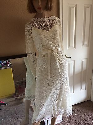 Vintage Fine Lace Sheath Dress Wedding Garden Party Bohemian Satin Ribbon Sleeve