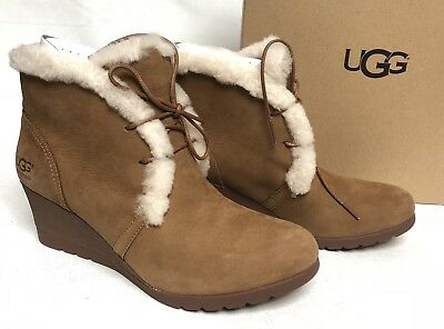 7b6d5bfacad3 UGG Australia Jeovana Boots Chestnut Suede Waterproof WP 1017421 Wedge Lace  Up