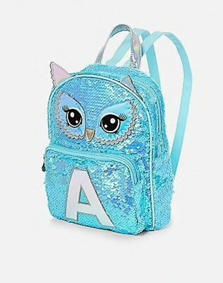NWT Justice Girls Owl Flip Sequin Initial MINI Backpack! You Choose the  Letter! 817c4404863f7