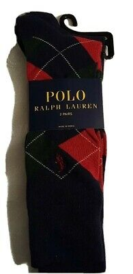 New Polo Ralph Lauren Men Socks Cotton 2 pair  Navy Argyle and Solid Navy