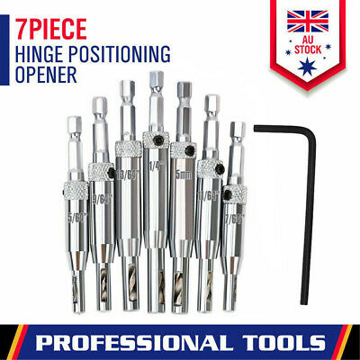 7x Self Centering Hinge Drill Bit Set Pilot Hole Guides Door Drawer Hardware HSS