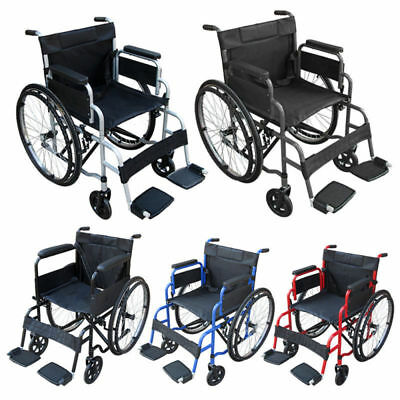 AID Folding Wheelchair Footrest Self Propell Lightweight Transit Travel Comfort