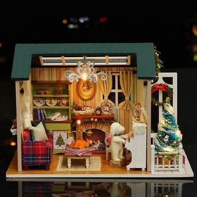DIY Handcraft LED Wooden Dollhouse Miniature Furniture Kit Toy Dolls House Gift