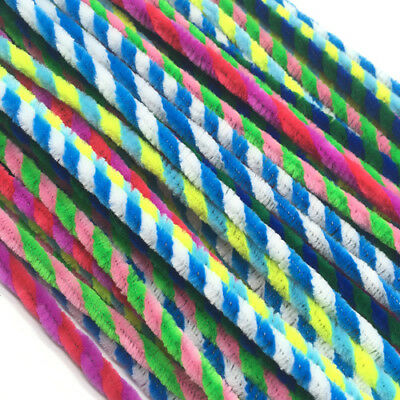 50pcs Striped Pipe Cleaners Mix Colors Chenille Craft Stems Kids DIY Pack Colors