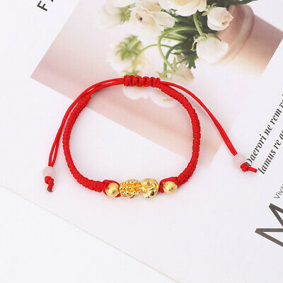 Chinese Feng Shui Gold Pi Xiu Kabbalah Red String Bracelet Evil Eye Protection