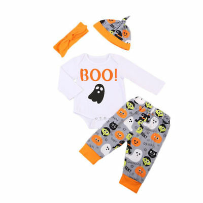 Infant Toddler Baby Boy Girls Romper Pants Hat Headband Outfits Set 0-18 Mins