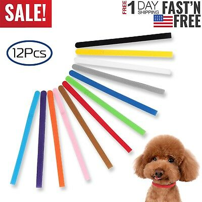 12 PCS Puppy Whelping Collars Newborn ID Furbabies Bands Litter Dog Kitten Set