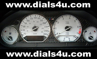 BMW 3 SERIES E36 (1990-2000) - 220kmh / 240kmh / 260kmh - WHITE DIAL KIT