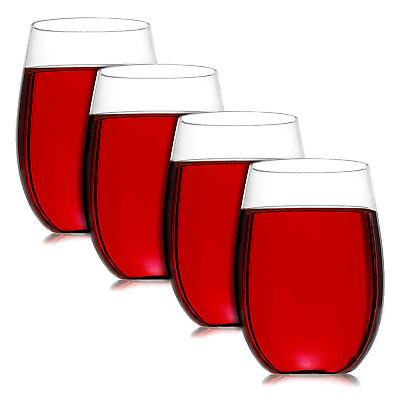 Pack of 4 Unbreakable Wine Glasses   Reusable Shatterproof Plastic Cups   M&W
