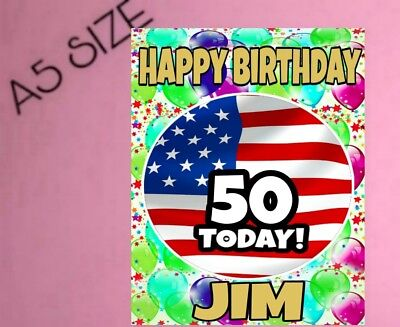 American Flag USA Personalised Birthday Card Age And Name Greeting Cards