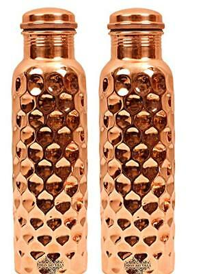 2X Pure Copper Hammered Diamond Design Bottle Best Quality For Drinking Water