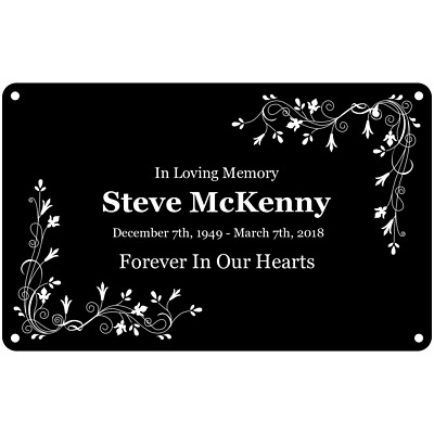 Personalised Memorial Plaque - Black with White Text and Graphics, Weatherproof