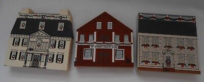 Lot of 3 Cat's Meow New England Christmas Series House, Tavern Store Signed 1989