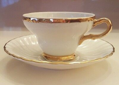 Ivory Cup And Saucer Set With Gold Trim Aynsley Saucer And Royal Crown Cup