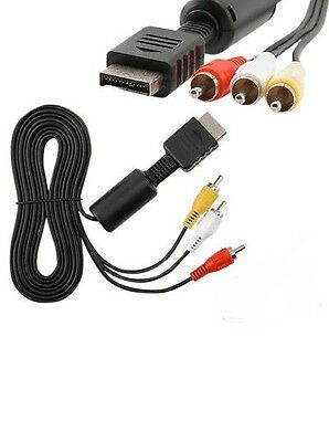 1.8 m Sony PlayStation PS1 PS2 PS3 Composite RCA Audio Video AV Cable Lead Black