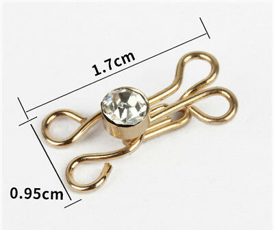 gold Hook and Eye Imitation diamond skirt dress Fasteners Sew On collar hook