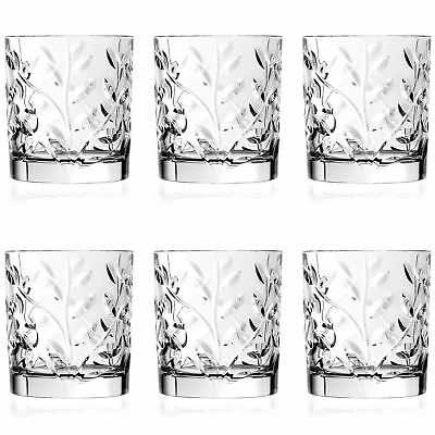 6x Laurus Cut Glass Double Old Fashioned Whisky Tumblers - 330ml Whiskey Glasses