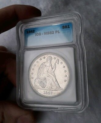 1842 $1 Seated Liberty Silver Dollar MS-62PL PROOFLIKE RARE!