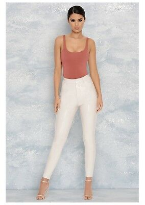 1365348f288 Brand New w Tags Oh Polly Vinyl High Waisted Trousers Leggings Size 8 Cream  Nude