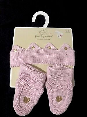First Impressions Baby Girl Headband And Booties Size 6-9 Months NWT