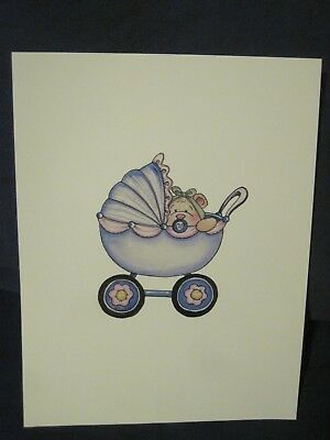 Baby Bear in a Blue Buggy with Pacifier Photo Art Work