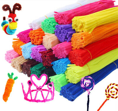 100PCS Chenille Craft Stems Pipe Cleaners Twist Rods Kids DIY 30cm Long 6mm Wide