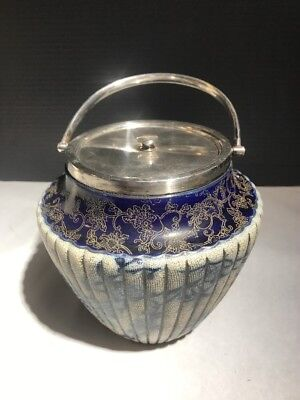 Antique Doulton Burslem Asian Biscuit Jar w/ Henry Bourne Sterling Silver