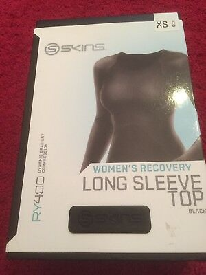 Skins Womens RY400 Long Sleeve Compression Top Size Xs Black