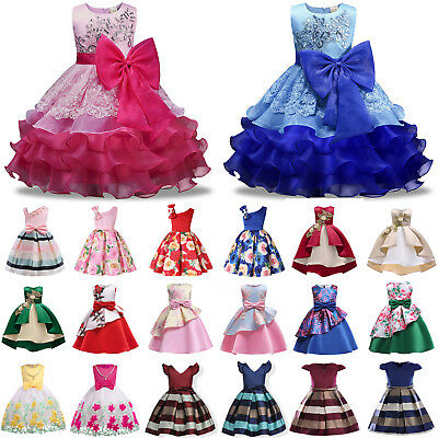 Kids Baby Flower Girls Lace Princess Tutu Dress Party Wedding Bridesmaid Formal