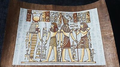 Egyptian Hand Painted Papyrus of Hor Moheb Presents Liquids to Horus and Hathor