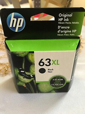 New 63XL HP Black High Yield Original Ink Cartridge (F6U64AN) Sealed Box Exp '20