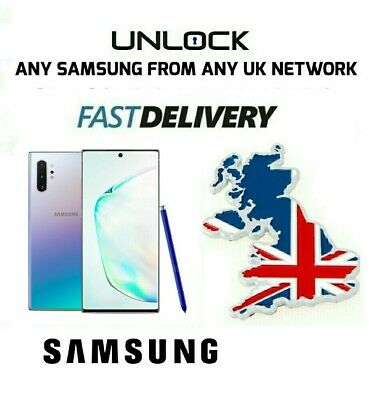 Unlock Code Samsung Galaxy Note 10 10+ 9 8 S9 S8 Plus S9 Plus O2 Ee Vodafone Uk