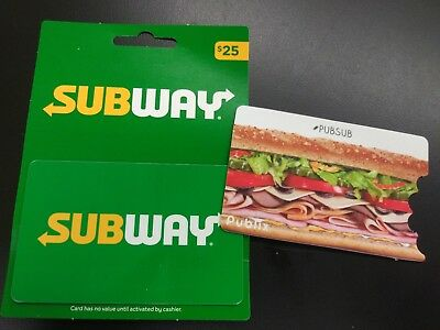 Subway 45 Dollor on 2 Gift Cards 25 Dollor and Publix 20 Dollors