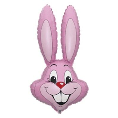 """Pastel Baby Pink Rabbit Easter Bunny Head Supershape 39"""" Foil Balloon"""