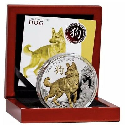 2018 YEAR OF THE DOG 5oz LUNAR Gold Plated Silver $8 Coin-500 Made Worldwide Too