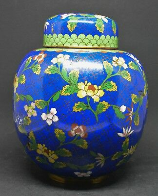 Antique Chinese Export Large Blue Cloisonne Ginger Jar ~ 7 Inches tall ~ 🐘