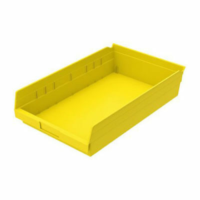 "Plastic Shelf Bin Nestable, 11-1/8""W x 17-5/8""D x 4""H Yellow, Lot of 12"